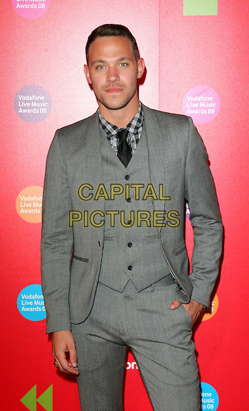 WILL YOUNG .Vodafone Live Music Awards 2008 at the Carling Academy, Brixton, London - September 18th 2008.half length grey gray suit waistcoat tie black.CAP/ROS.©Steve Ross/Capital Pictures