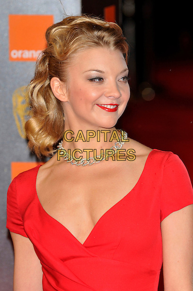 NATALIE DORMER.2011 Orange British Academy Film Awards (Baftas) at The Royal Opera House, London, England, UK,.February 13th, 2011..arrivals BAFTA headshot portrait red necklace silver lipstick .CAP/PL.©Phil Loftus/Capital Pictures.