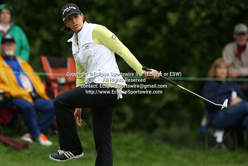American Juli Inkster reacts after missing her putt on the eighth hole at the LPGA Championship at Locust Hill Country Club in Pittsford, NY on June 7, 2013