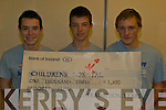 FUNDS: Some of the CBS The Green students who raised EUR1,300 for Crumlin Children's Hospital, l-r: Kevin Sweeney, John Horgan, Daniel Kerins.   Copyright Kerry's Eye 2008
