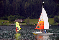 Bad Kleinkirchheim, Nockberge National Park, Kaernten, Carinthia, Austria, June 2009. Canoeing, sailing and windsurfing are among the activities on Lake Feldsee (Brennsee) that one can undertake after hiking or mountainbiking.  The ancient Nock mountains of southern Austria offer great hiking possibilities. Photo by Frits Meyst/Adventure4ever.com