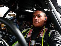 Feb 7, 2014; Pomona, CA, USA; NHRA pro stock driver Shane Tucker during qualifying for the Winternationals at Auto Club Raceway at Pomona. Mandatory Credit: Mark J. Rebilas-