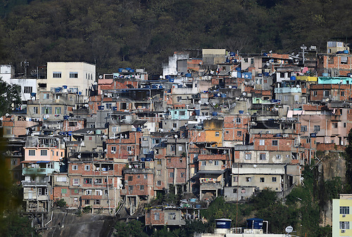 05.08.2016. Rio de Janeiro, Brazil.  A view of a Favela near Maracana Stadium in Rio de Janeiro, Brazil, 05 August 2016. The opening ceremony of the Rio 2016 Olympic Games takes place in the Maracana Stadium on 05 Aug 2016.