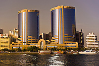 Looking across Dubai Creek to the Deira section of Dubai City, Dubai, United Arab Emirates