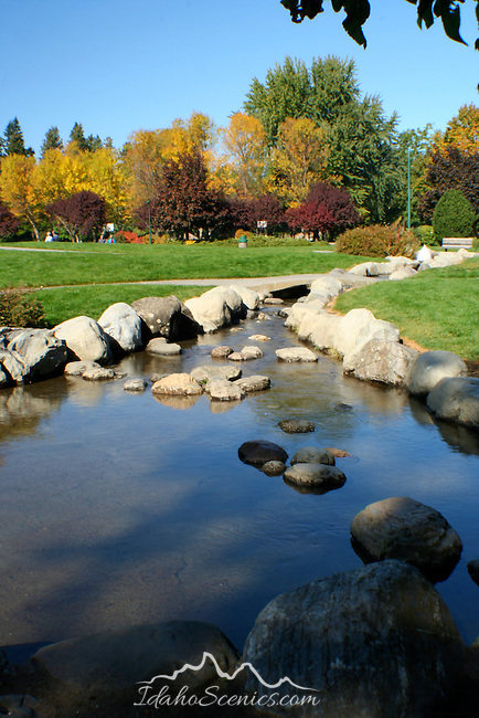 Shadows on the runoff stream from Independence Point fountain in Coeur D Alene Idaho