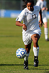 03 DEC 2011: Maria Brown (13) of GVSU moves the ball down the field during the Division II Women's Soccer Championship held at the Ashton Brosnaham Soccer Complex in Pensacola, FL.  Saint Rose defeated Grand Valley State 2-1 to win the national title.  Stephen Nowland/NCAA Photos