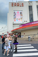 Visitors about to enter Hyper Japan 2014, Earls Court, London, UK, July 25, 2014. Hyper Japan is the UK's largest Japanese culture event. It took place at the Earls Court exhibition space from 25 to 27 July 2014.