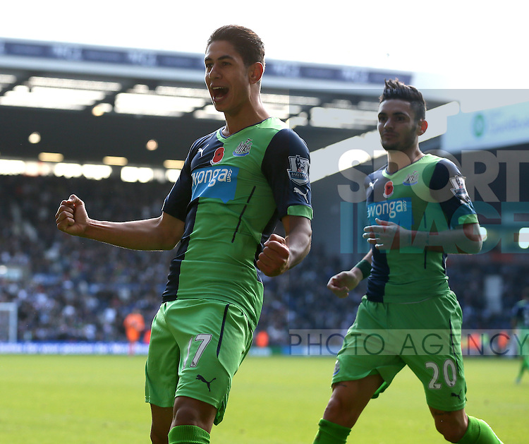 Ayoze Perez of Newcastle United celebrates scoring the first goal  - Barclays Premier League - WBA vs Newcastle Utd - Hawthorns Stadium - West Bromwich - England - 9th November 2014  - Picture Simon Bellis/Sportimage