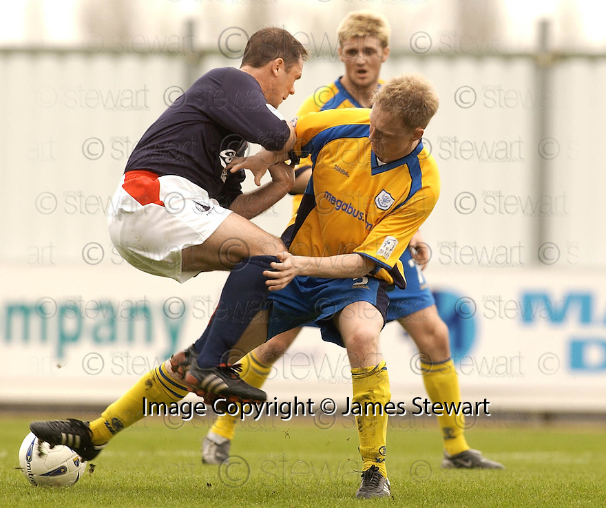 02/04/2005         Copyright Pic : James Stewart.File Name : jspa07_falkirk_v_st_johnstone.JOHN O'NEILL IS CHALLENGED BY STEVEN ANDERSON.....Payments to :.James Stewart Photo Agency 19 Carronlea Drive, Falkirk. FK2 8DN      Vat Reg No. 607 6932 25.Office     : +44 (0)1324 570906     .Mobile   : +44 (0)7721 416997.Fax         : +44 (0)1324 570906.E-mail  :  jim@jspa.co.uk.If you require further information then contact Jim Stewart on any of the numbers above.........A