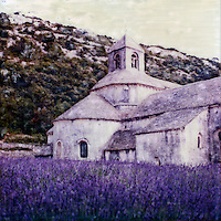 Abbaye Notre-Dame de Sénanque ablaze with fields full of lavendar in bloom. Residence and visitors both enjoy the idealic setting and comfort of this abbaye.<br /> <br /> -Limited Edition of 50 Prints