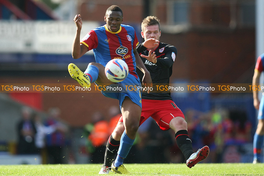 Kagisho Dikgacoi of Crysrtal Palace and Aron Gunnarsson of Cardiff City - Crystal Palace vs Cardiff City - NPower Championship Football at Selhurst Park, London - 22/09/12 - MANDATORY CREDIT: George Phillipou/TGSPHOTO - Self billing applies where appropriate - 0845 094 6026 - contact@tgsphoto.co.uk - NO UNPAID USE.