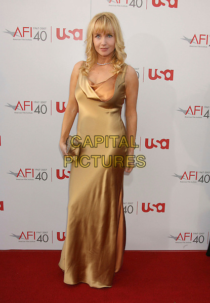 REBECCA DeMORNAY.35th AFI Life Achievement Award Honoring Al Pacino held at the Kodak Theatre, Hollywood, California, USA..June 7th, 2007.full dress length gold satin neck cowl clutch purse.CAP/ADM/RE.©Russ Elliot/AdMedia/Capital Pictures
