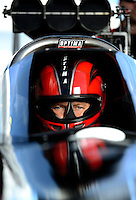 Sept 8, 2012; Clermont, IN, USA: NHRA top fuel dragster driver David Grubnic during qualifying for the US Nationals at Lucas Oil Raceway. Mandatory Credit: Mark J. Rebilas-