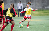 Seattle, Washington - Saturday May 14, 2016:  Portland Thorns FC midfielder Meleana Shim (6) during warmups at Memorial Stadium on Saturday May 14, 2016 in Seattle, Washington. The match ended in a 1-1 draw