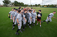 Edgewood Eagles team huddle after the first game of a double header against the Bethel Wildcats on March 15, 2019 at Terry Park in Fort Myers, Florida.  Bethel defeated Edgewood 6-0.  (Mike Janes/Four Seam Images)