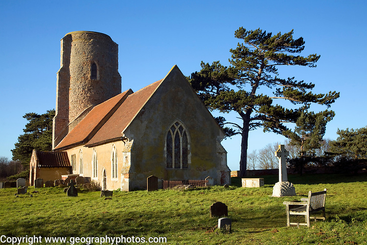 Round tower and nave of All Saints church, Ramsholt, Suffolk, England