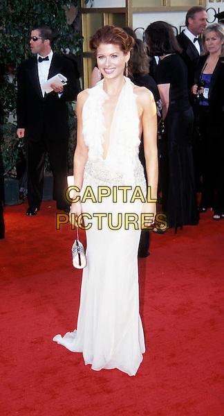 DEBRA MESSING.Golden Globe Awards.long white dress, halterneck.Ref: ND.www.capitalpictures.com.sales@capitalpictures.com.© Capital Pictures