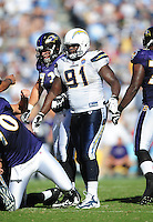 Sep. 20, 2009; San Diego, CA, USA; San Diego Chargers defensive end (91) Ogemdi Nwagbuo against the Baltimore Ravens at Qualcomm Stadium in San Diego. Baltimore defeated San Diego 31-26. Mandatory Credit: Mark J. Rebilas-