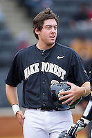 Will Craig (22) of the Wake Forest Demon Deacons during the game against the Florida State Seminoles at Wake Forest Baseball Park on April 19, 2014 in Winston-Salem, North Carolina.  The Seminoles defeated the Demon Deacons 4-3 in 13 innings.  (Brian Westerholt/Four Seam Images)