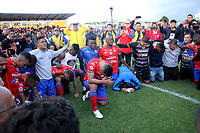 IPIALES - COLOMBIA, 05-06-2019: Jugadores del Pasto celebran la clasificación a la final después del partido por la fecha 6, cuadrangulares semifinales, de la Liga Águila I 2019 entre Deportivo Pasto y Unión Magdalena jugado en el estadio Estadio Municipal de Ipiales. / Players of Pasto celebrate their classification to the final after match for the date 6, semifinal quadrangulars, as part of Aguila League I 2019 between Deportivo Pasto and Union Magdalena played at Municipal stadium of Ipiales.  Photo: VizzorImage / Leonardo Castro / Cont