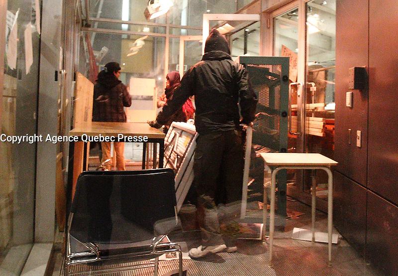 FILE PHOTO - Violent demonstrations at UQAM (Universite du Quebec A Montreal), April 8 and 9, 2015.