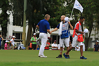 Alex Noren (Europe) on the 16th green wins his match 4&2 during the Singles Matches of the Eurasia Cup at Glenmarie Golf and Country Club on the Sunday 14th January 2018.<br /> Picture:  Thos Caffrey / www.golffile.ie