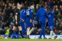 Chelsea's Olivier Giroud helped off the pitch with an injury <br /> <br /> Photographer Craig Mercer/CameraSport<br /> <br /> The Premier League - Chelsea v West Bromwich Albion - Monday 12th February 2018 - Stamford Bridge - London<br /> <br /> World Copyright &copy; 2018 CameraSport. All rights reserved. 43 Linden Ave. Countesthorpe. Leicester. England. LE8 5PG - Tel: +44 (0) 116 277 4147 - admin@camerasport.com - www.camerasport.com