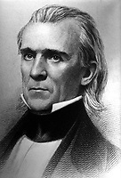 President James K. Polk, ca.  1840's.  Copy of engraving by H.W. Smith.  (OWI)<br /> Exact Date Shot Unknown