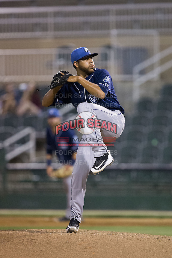 Asheville Tourists relief pitcher Javier Palacios (32) in action against the Kannapolis Intimidators at Kannapolis Intimidators Stadium on May 26, 2016 in Kannapolis, North Carolina.  The Tourists defeated the Intimidators 9-6 in 11 innings.  (Brian Westerholt/Four Seam Images)