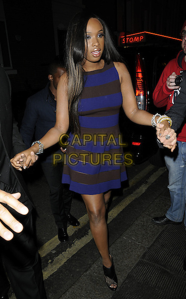 JENNIFER HUDSON.The Jennifer Hudson new album launch party, The Ivy Club, London, England..April 20th, 2011.full length black dress blue brown striped stripes open toe ankle shoes  bracelets  .CAP/CAN.©Can Nguyen/Capital Pictures.