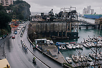 breakaway group past the harbour<br /> <br /> 109th Milano-Sanremo 2018<br /> Milano &gt; Sanremo (291km)