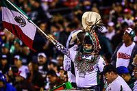 Aficion agitando, ondeando  la bandera de mexico , durante el  segundo d&iacute;a de actividades de la Serie del Caribe con el partido de beisbol  Tomateros de Culiacan de Mexico  contra los Alazanes de Gamma de Cuba en estadio Panamericano en Guadalajara, M&eacute;xico,  s&aacute;bado 3 feb 2018. <br /> (Foto  / Luis Gutierrez)