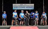 L-R The five cyclists Karen Munn, Mike Croft, Martin Snailham, local radio presenter, Andy House and Chris Groves, interviewed on stage
