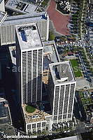 aerial photograph of One Market Plaza, Spear Street tower, Steuart Street tower, the Southern Pacific Building (the Landmark), San Francisco, California