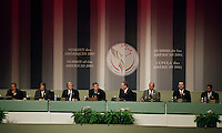April 22, 2001, Quebec, Quebec, Canada<br /> <br /> Prime Ministers and Presidents of the  G8 countries listen to<br /> George W Bush, United States of Americas President (MO<br /> speech at the closing press conference of the Summit of the Americas 2001