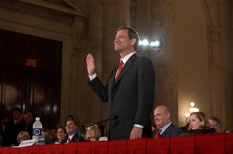 Judge John G. Roberts Jr., is sworn in on the first day of the  Senate Judiciary Committee hearing on his nomination for the chief justice of the United States.