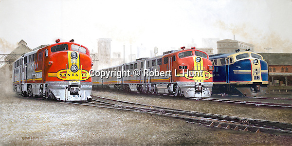 "Santa Fe F unit diesels in classic warbonnet paint readying to leave Argentine Yard in Kansas City, two ""chiefs"" in red and silver, and one ""brave"" in blue and yellow. Oil on Canvas, 15"" x 30""."