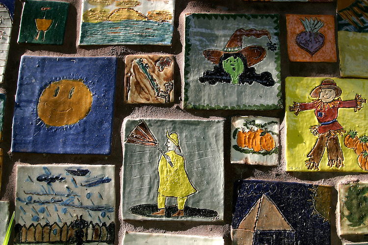 Seattle, B.F. Day School, student art, ceramic tiles depict Seattle's famous weather, Fremont, neighborhood, Seattle, Washington State, Pacific Northwest,