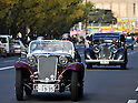 November 27, 2011, Tokyo, Japan - A 1935 Singer 9 Le Mans and a 1938 Jaguar SS Saloon, both of Britain, participate in the fifth Classic Car Festa 2011 in Tokyo on Sunday, November 27, 2011. Some 43,000 spectators watch about 100 domestic and foreign classic and vintage cars parade the gingko-lined streets of the Meiji Shrines Outer Garden in the annual open-air exhibition and parade sponsored by Toyota Automobile Museum. (Photo by Natsuki Sakai/AFLO) [3615] -mis-