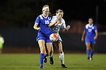 16 October 2015: Duke's Kara Wilson (15) and North Carolina's Jessie Scarpa (12). The University of North Carolina Tar Heels hosted the Duke University Blue Devils at Fetzer Field in Chapel Hill, NC in a 2015 NCAA Division I Women's Soccer game. Duke won the game 1-0.
