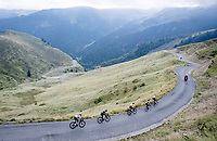GC contenders grouped coming down the Port de Balès (HC climb) > Wout Van Aert (BEL/Jumbo-Visma) escorting Primoz Roglic (SVK/Jumbo-Visma), yellow jersey / GC leader Adam Yates (GBR/Mitchelton-Scott), Esteban Chaves (COL/Mitchelton-Scott) & Egan Bernal (COL/Ineos Grenadiers)<br /> <br /> Stage 8 from Cazères to Loudenvielle (141km)<br /> <br /> 107th Tour de France 2020 (2.UWT)<br /> (the 'postponed edition' held in september)<br /> <br /> ©kramon