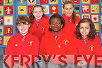 A patchwork quilt created by pupils in Kerry to mark the Eurcharistic Congress is on display at Killarney Library. Front L-R Sarah O'Riordan, Faith Akilapa, Redona Sahiti..Back L-R Jane McGuillicuddy and Sarah Leahy.