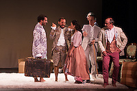 "Alejandro Albarracin,Kevin de la Rosa, Esther Isla, Vicente Leon, Juanma Navas, Borja Luna, Helena Lanza and Macarena Sanz during theater play of ""Los desvarios del veraneo"" at Teatro Infanta Isabel in Madrid. July 19, 2016. (ALTERPHOTOS/Rodrigo Jimenez) NORTEPHOTO.COM"