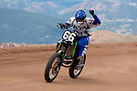 21 July 2007:   Mark Woodward of Longmont, Colorado crosses the finish line in the 450cc Motorcycle Division of the 85th Running of The Race to the Clouds, the 2007 Pikes Peak International Hill Climb, Saturday, July 21, 2007, Colorado Springs, Colorado.
