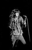 Denver, Colorado<br /> USA<br /> May 9, 1983<br /> <br /> Front-man and Ramones singer: Joey Ramone in concert<br /> <br /> The Ramones were an American rock band that formed in Forest Hills, Queens, New York in 1974, often cited as the first punk rock group. Despite achieving only limited commercial success, the band was a major influence on the punk rock movement both in the United States and the United Kingdom.<br /> <br /> All of the band members adopted pseudonyms ending with the surname &quot;Ramone&quot;, though none of them were actually related. They performed 2,263 concerts, touring virtually nonstop for 22 years. In 1996, after a tour with the Lollapalooza music festival, the band played a farewell show and disbanded.<br /> <br /> By a little more than eight years after the breakup, the band's three founding members--lead singer Joey Ramone, guitarist Johnny Ramone, and bassist Dee Dee Ramone--had all died.