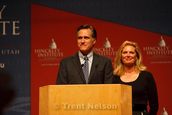 Trent Nelson     The Salt Lake Tribune.Salt Lake City - Mitt Romney and his wife Ann at the Salt Palace Convention Center during a stop on his No Apology book tour and as part of the Hinckley Institute of Politics, Saturday, March 13, 2010.