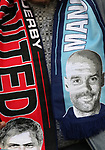 Jose Mourinho manager of Manchester United  and Manchester City Manager Pep Guardiola appear on scarves during the English Premier League match at The Etihad Stadium, Manchester. Picture date: April 27th, 2016. Photo credit should read: Lynne Cameron/Sportimage