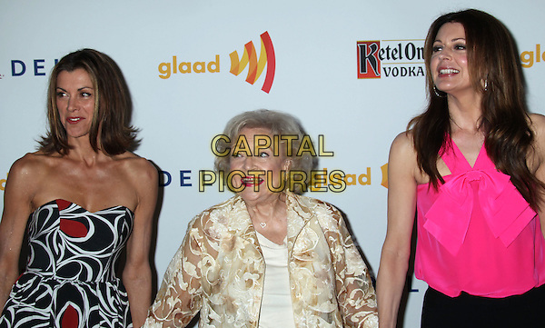 Wendie Malick, Betty White, Jane Leeves.23rd Annual GLAAD Media Awards held at the Westin Bonaventure Hotel, Los Angeles, California, USA..April 21st, 2012.half length dress white black red print strapless  white sheer floral print pink top.CAP/ADM/RE.©Russ Elliot/AdMedia/Capital Pictures.