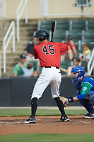 Cameron Simmons (45) of the Kannapolis Intimidators at bat against the Lexington Legends at Kannapolis Intimidators Stadium on August 4, 2019 in Kannapolis, North Carolina. The Legends defeated the Intimidators 5-1. (Brian Westerholt/Four Seam Images)