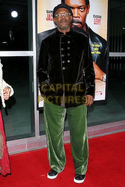 "SAMUEL L. JACKSON.Los Angeles Premiere Of ""The Man"" held at the Arclight Theatre, Hollywood, CA..September 6th, 2005.Photo credit: Jacqui Wong/Admedia.full length hand in pocket green velvet trousers double breasted brown jacket hat.www.capitalpictures.com.sales@capitalpictures.com.© Capital Pictures."